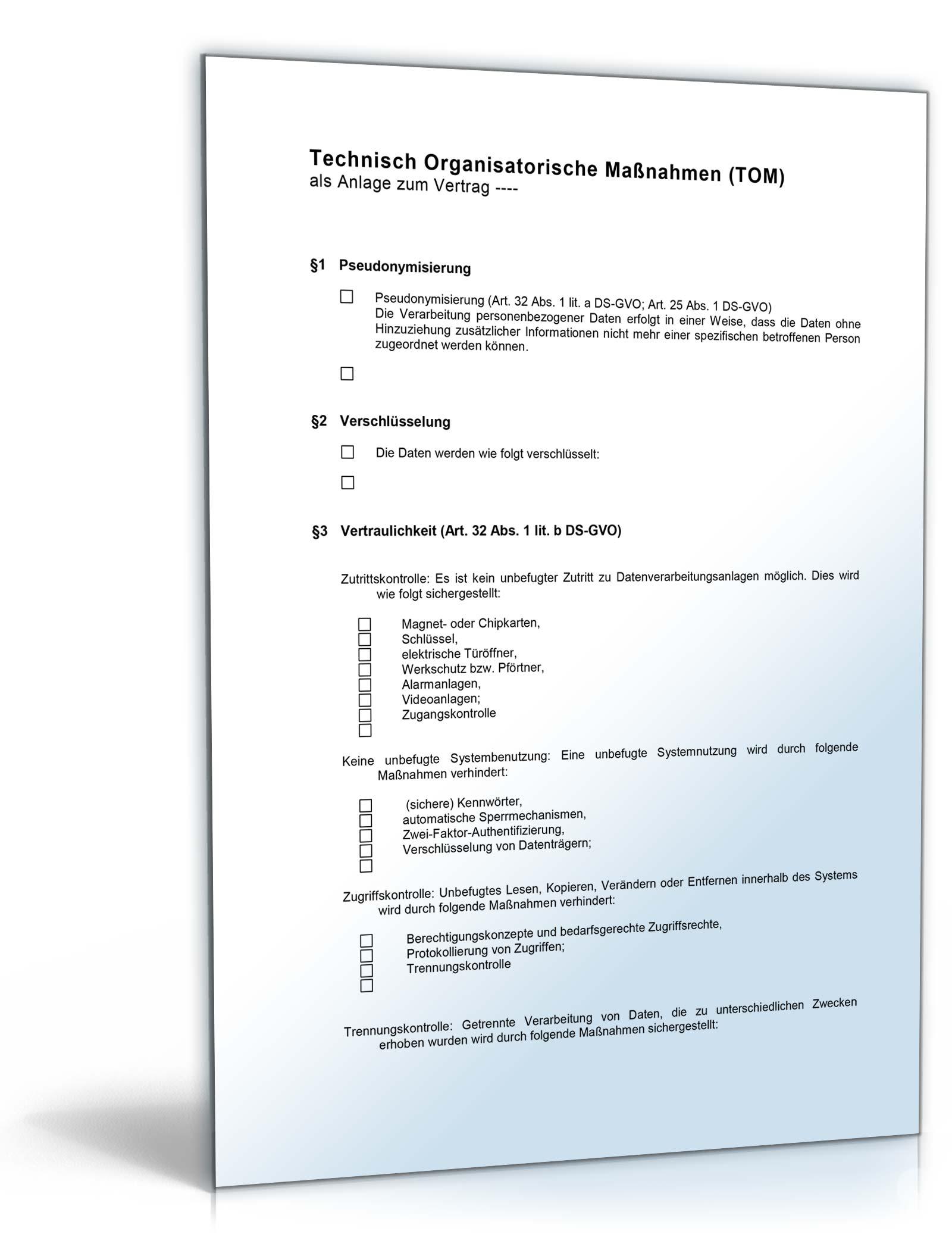 Anlage TOM zum Vertrag Auftragsverarbeitung nach DSGVO