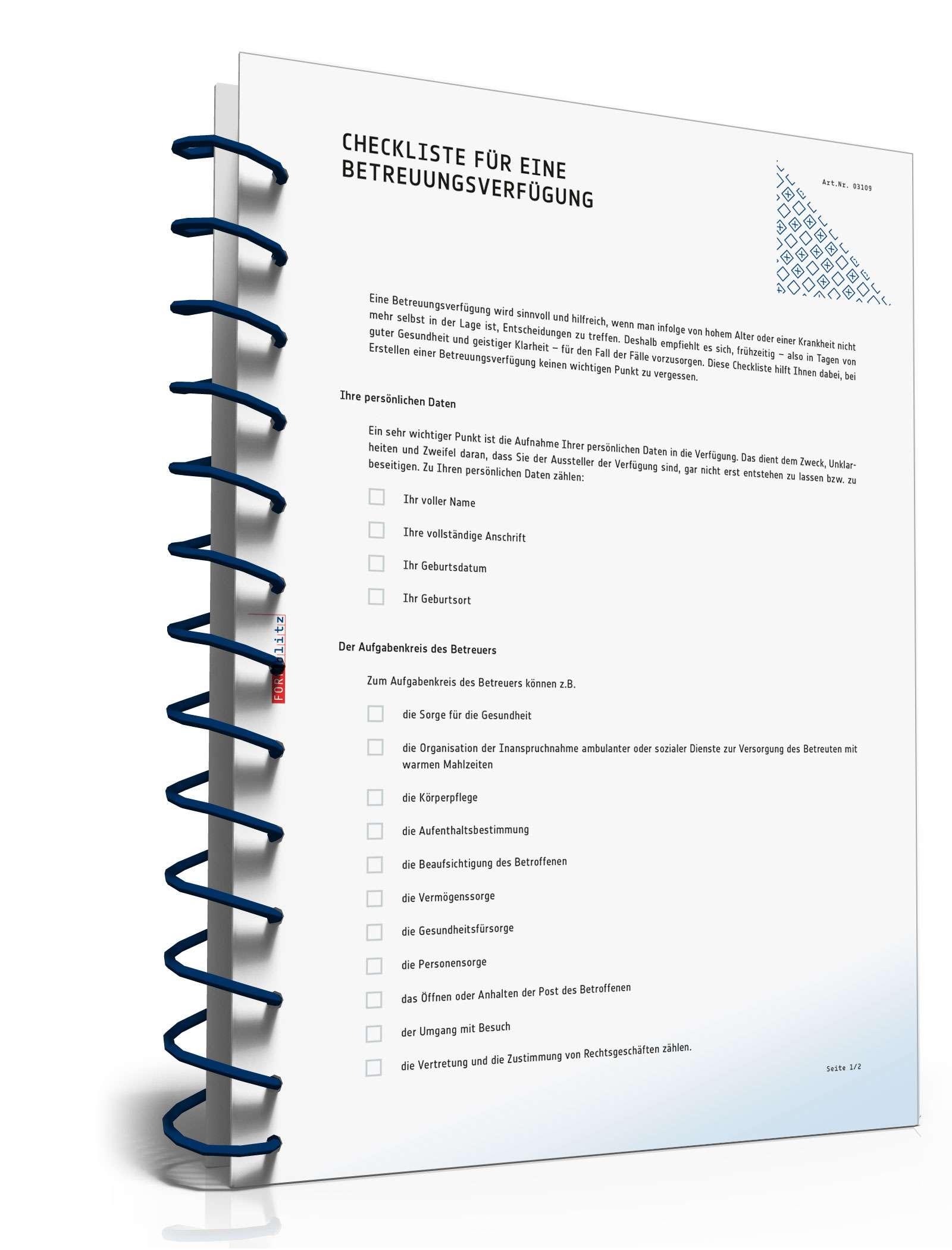 Checkliste Betreuungsverfügung