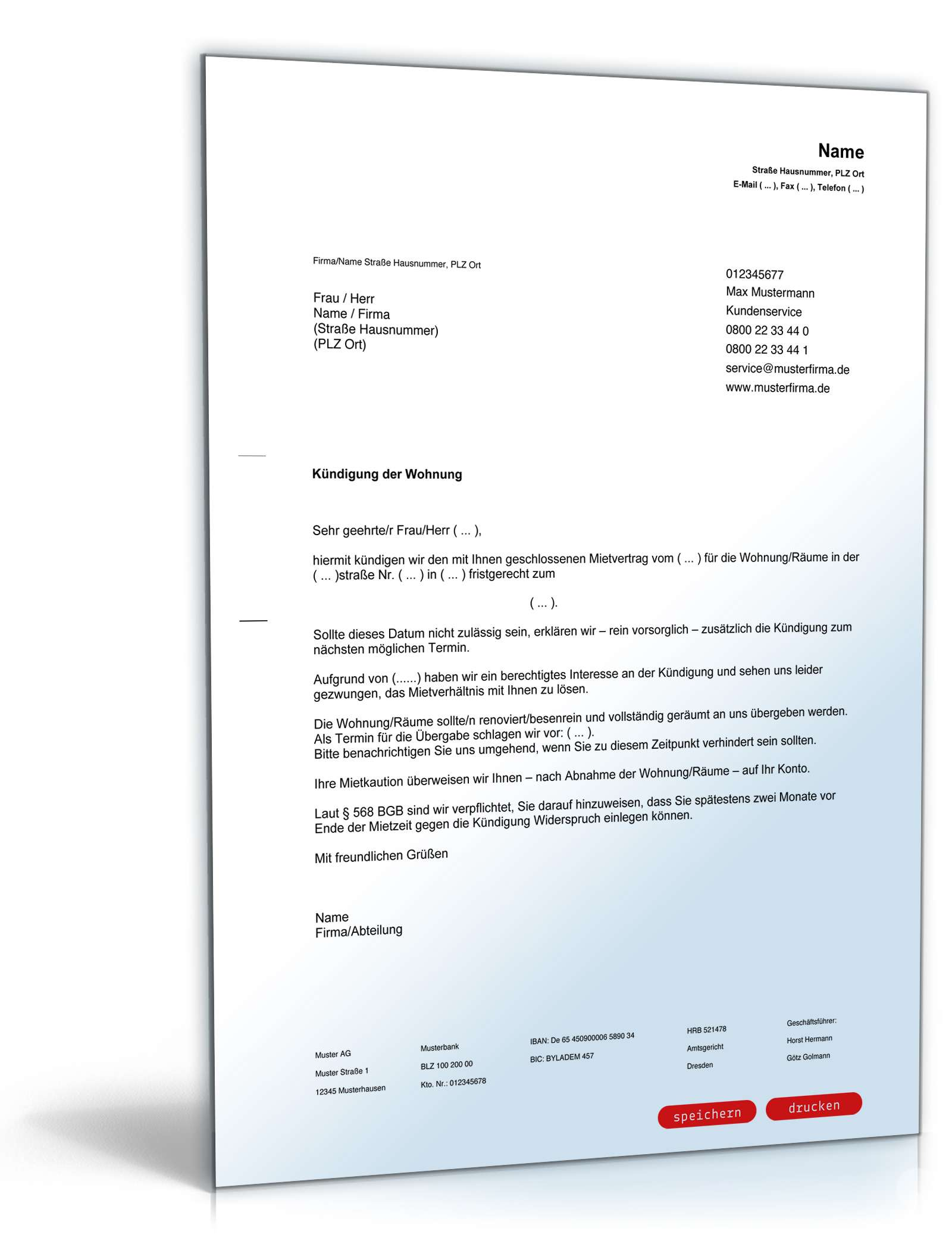 Fristgemäße Kündigung Mietvertrag durch Vermieter